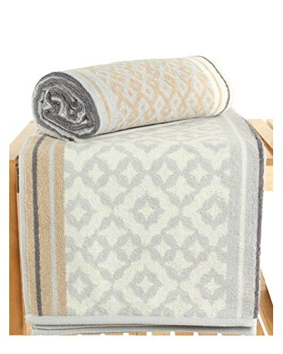 Maisonette Marocco 2-Piece Bath Towel Set, Grey