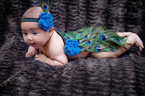 Pellor Newborn 0-6 Months Baby Girls Boys Cute Peacock Crochet Knit Costume Headband Photography Prop (Color-1)