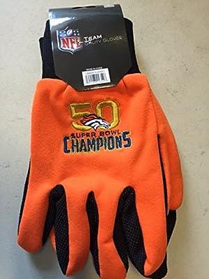 NFL Denver Broncos 2016 Super Bowl 50 Champions Utility Gloves, One Size