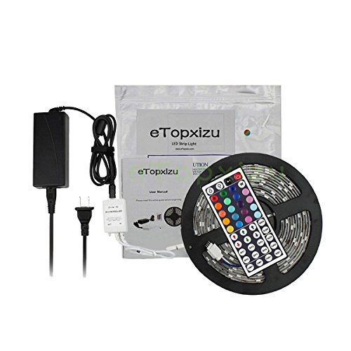 Etopxizu 16.4Ft 300 Smd 5050 Water Resistant Rgb Color Changing Flexible Led Strip Light Kit + 44Key Ir Remote Controller + 12V5A Power Supply