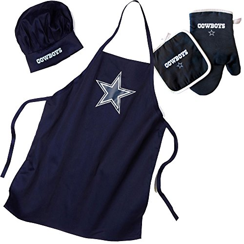 Dallas Cowboys NFL Barbeque Apron, Chef's Hat and Pot Holder Deluxe Set (Cowboys Chef Hat And Apron Set compare prices)