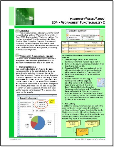Microsoft Excel 2007 Quick Reference Guide - Excel 204: Introduction To Data Linking, Version Control, Data Protection, Auditing & Tracking Changes