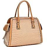 Dasein Croco Textured Fin Laptop, Tablet, Ipad Bag Satchel Briefcase Shoulder Bag Handbag Purse with Removable Shoulder Strap