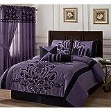 Chezmoi Collection 7-piece Flocked Floral Faux Silk Comforter Set, Queen, Violet/Black