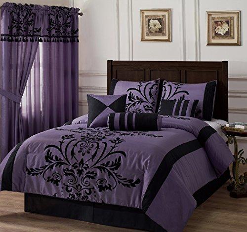 Chezmoi Collection 7-Piece Flocked Floral Faux Silk Comforter Set, Full, Violet/Black
