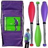 """Kit de 3 clubs de malabarismo Malabarismo """"perpetuo"""" durante 15 años +, 52 cm de color rojo, verde, púrpura mochila +"""