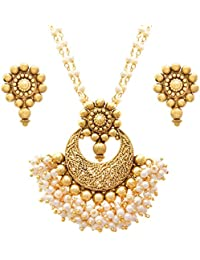 JFL- Awesome One Gram Gold Plated Pearl Designer Pendant Set For Women