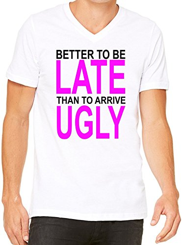 better-to-be-late-slogan-mens-v-neck-t-shirt-xx-large