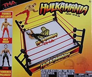 TNA HULKAMANIA TOY WRESTLING RING PLAYSET WITH 2 FIGURES