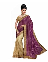 Attractive Purple & Beige, Jacquard & Net Embroidered Designer Saree