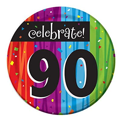 Creative Converting Milestone Celebrations Round Dessert Plates, Celebrate 90