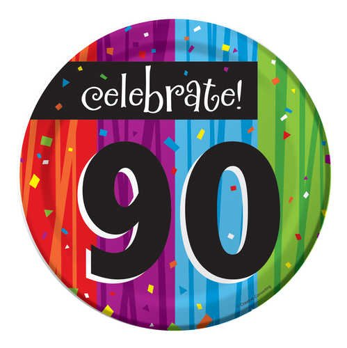 Creative Converting Milestone Celebrations Round Dessert Plates, 8-Count, Celebrate 90