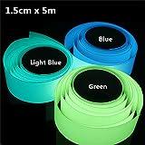 私の家族 5mx15mm 蓄光テープ粘着緑青暗い安全ステージ家の装飾で輝く-青