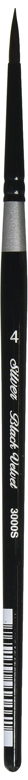 Silver Brush 3000S-4 Black Velvet Short Handle Blend Squirrel and Risslon Brush, Round, Size 4 (Color: Round, Tamaño: Size 4)