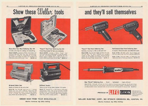 1964 Weller Electric Tools Soldering Guns Iron Sabre Saw Sander 2-Page Trade Print Ad (Memorabilia) (56162)