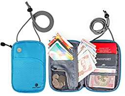 BAGSMART Travel Passport Wallet RFID Blocking Nech Pouch Card Holder Cover, Blue