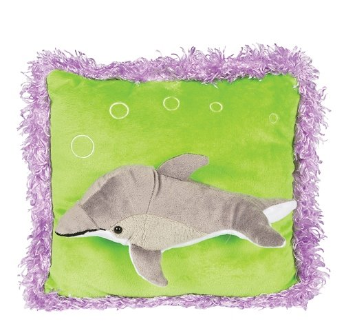 Raised Dolphin Neon Plush Pillow - 1