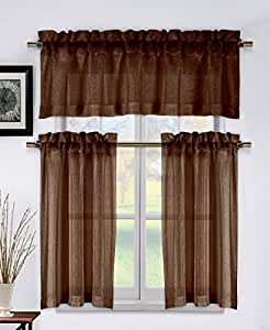 Metallic Chocolate Brown 3 Piece Kitchen Window Curtain Set 1 Valance 2 Tier