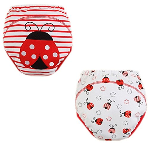 2 Pcs Stripe Ladybird Dot Toddlers Reusable Washable Baby Newborn Diaper Pants M front-905813