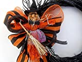 Small Halloween Witch wreath, witch wreath, orange wreath, spooky wreath, wicked witch. Halloween decorations,Happy Halloween, gift