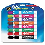 Expo Low Odor Chisel Tip Dry Erase Markers, 16 Colored Markers