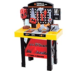 Childrens Toy Workbench And Tool Set With Working Drill