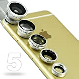 First2savvv JTSJ-5N1-16 silver mobile phone Universal 5 in 1 Clip Camera professional glass Lens Kit (fish eye, wide angle, macro, barlow and polarizer lens) for Apple iphone 6 plus iphone 6 &Nokia Lumia 530 Samsung Galaxy s5 mini&Motorola S, Shamu & Hua