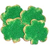 Scott's Cakes 1 lb. Shamrock Cookies with Green Sugar in a Red with Green Paisley Tray with Red Krinkle