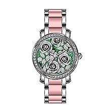 buy Ksd Women'S Luxury Unique Zirconia Bezel Stainless Steel/Pink Ceramic Quartz Wrist Watch Roses On Emerald Green Wrist Watch