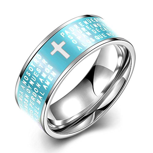 NYKKOLA da 8 mm, in acciaio INOX con croce e preghiera della Bibbia, intagliato religioni coinvolte LetsBuyGold-Anello a fascia da matrimonio, 7-10, colore: azzurro, acciaio inossidabile, 61 (19.4), cod. XGTGR091-D-9