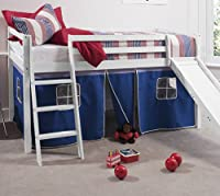 Cabin Bed White Mid Sleeper Bunk with Slide Blue Tent 66WGBL