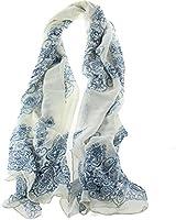 eFuture(TM) Blue Beige Porcelain Pattern Gaze De Paris Scarf Thin Long Scarf Wrap Silk Scarves For women Girl Lady +eFuture's nice Keyring