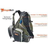 Fly Fishing Tackle Hydration Backpack for Anglers with 1.5 Liter Water Bladder