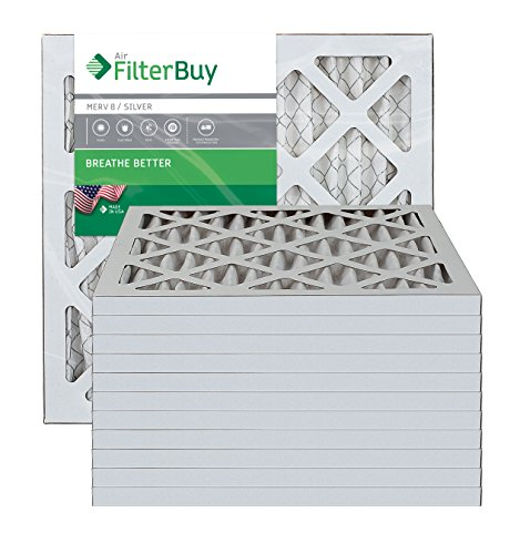 AFB Silver MERV 8 13x18x1 Pleated AC Furnace Air Filter. Pack of 12 Filters. 100% produced in the USA.