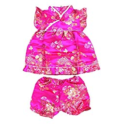 Buenos Ninos Girls Short Sleeve Cheongsam Baby Qipao Patterned Cloth Set Rose Peony S