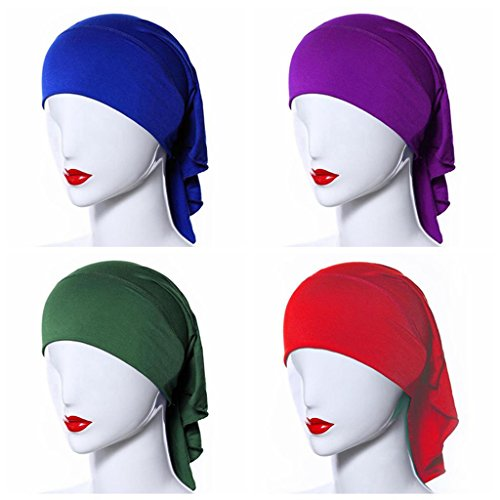 Ksweet 4 Pack Hijab Style Sciarpe Donna Cappellini Sciarpa Bandana Turbante Cofano Testa sciarpa chemio cappello Ciclismo Sport (multicoloured-06)