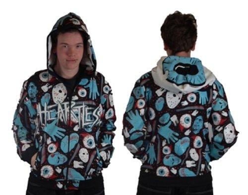 Mens Poizen Industries Black Horror Eyeballs Emo Gothic Hoodie Top Size XL