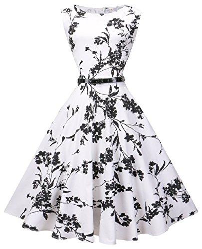 VOGVOG Women's Audrey Hepburn Sleeveless Plus Size Vintage Tea Dress with Belt,Floral,XX-Large
