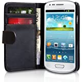 Noir Portefeuille Cuir Étui Coque pour Samsung GT-i8190 Galaxy S3 SIII Mini - Flip Case Cover + 2 Films de protection d'écran