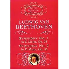 【クリックでお店のこの商品のページへ】Symphony No. 1 & No. 2 (Dover Miniature Music Scores): Ludwig van Beethoven, Music Scores: 洋書
