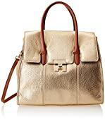 Tommy Hilfiger Turnlock Pebble Leather Colorblock Convertible Top Handle Shoulder Bag