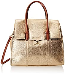 Tommy Hilfiger Turnlock Pebble Leather Colorblock Convertible Top Handle Shoulder Bag