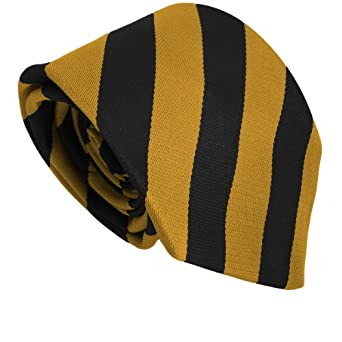 School Ties (23 Block Stripe Colour Variations) (Black & Gold)