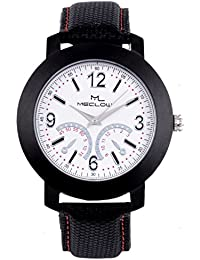 Latest Design Black Canvas Belt Watch, Round White Dial Analog Watch For Men's/Boys Classic Fashionable Watch...