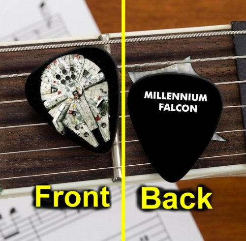 Cool Black Star Wars Millennium Falcon Guitar Pick Pic