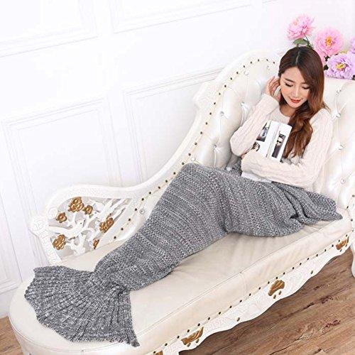 LIVEHITOP handgemachte Häkelarbeit Mermaid Schwanz Decke, weiche Wolldecken Fish Tail Schlafsack Erwachsene All Seasons, 195 x 95 cm (grau) thumbnail