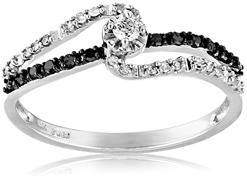 10k White Gold Black and White Diamond Promise Ring (1/4 cttw, I-J Color, I2-I3 Clarity), Size 8