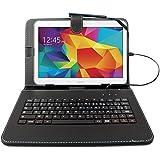 """DURAGADGET Etui noir et clavier intégré AZERTY (français) pour tablettes Samsung Galaxy Tab 4 10.1"""" SM-T530 et SM-T533 (Wi-FI 2015) aspect cuir + stylet tactile BONUS - Garantie 2 ans"""
