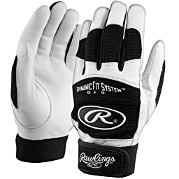 Rawlings Adult Size Baseball/Softball Batting Gloves (Black/White, Adult Medium)
