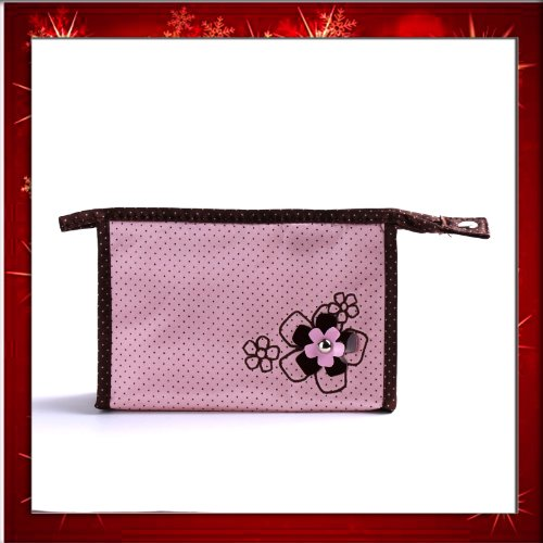 Fashion Lady Makeup Cosmetic Hand Case Zipper Pouch Bag Pink FlowerB0271